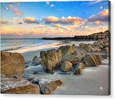 Shoreline Folly Beach Acrylic Print by Jenny Ellen Photography