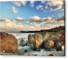 Shoreline Rocks And Fence Posts Folly Beach Acrylic Print by Jenny Ellen Photography