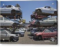 Shot Of Junkyard Cars Acrylic Print by Noam Armonn
