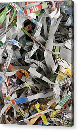 Shredded Paper Acrylic Print by Photo Researchers, Inc.