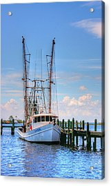 Shrimp Boat At Dock Acrylic Print by Barry Jones