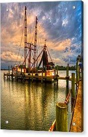 Shrimp Boat At Sunset Acrylic Print by Debra and Dave Vanderlaan