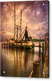 Shrimp Boat At Sunset II Acrylic Print by Debra and Dave Vanderlaan