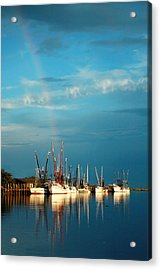 Shrimp Boats In Darien Acrylic Print by Mary Hershberger