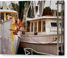 Shrimp Boats Acrylic Print by Larry Bishop