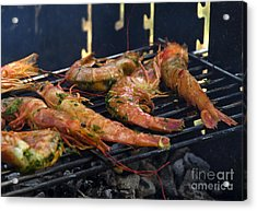 Shrimp On Bbq Acrylic Print by Perry Van Munster