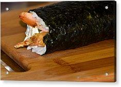 Shrimp Sushi Roll On Cutting Board Acrylic Print by Carolyn Marshall