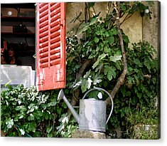 Shutters And Watering Can Acrylic Print by Sandra Anderson