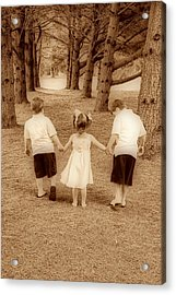 Siblings Taking A Walk Acrylic Print by Trudy Wilkerson