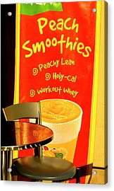 Acrylic Print featuring the photograph Side Walk Sign Art Smoothies by James Bethanis