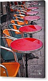 Sidewalk Cafe In Paris Acrylic Print by Elena Elisseeva