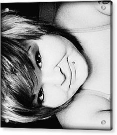 #sideways #blackandwhite #lady #girl Acrylic Print