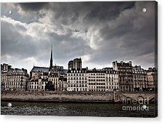 Siene River Scene Paris Acrylic Print by Ei Katsumata