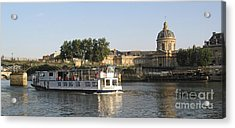 Sightseeing Boat On River Seine. Paris Acrylic Print by Bernard Jaubert
