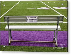 Sign On Athletic Field Bench Acrylic Print by Andersen Ross