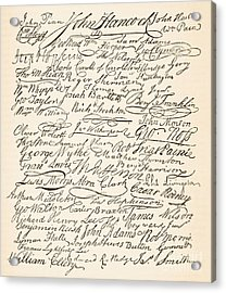 Signatures Attached To The American Declaration Of Independence Of 1776 Acrylic Print