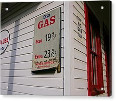 Signs On A Historic Gas Station Offer Acrylic Print by Amy White & Al Petteway