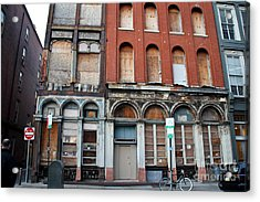 Silent City Store Fronts Acrylic Print by Extrospection Art