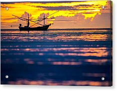 Silhouette Boat At Sea Acrylic Print by Arthit Somsakul