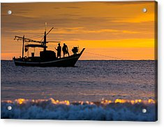Silhouette Fisherman On Boat In Sunset Huahin Acrylic Print by Arthit Somsakul