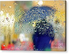 Silhouette In The Rain Acrylic Print by Carlos Caetano