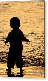 Silhouette Of A Child 1 Acrylic Print by Carole Lloyd