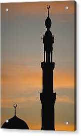 Silhouette Of Mosque At Dawn Acrylic Print by Axiom Photographic