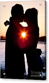 Silhouette Of Romantic Couple Acrylic Print by Cindy Singleton