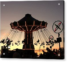 Silhouetted Amusement Ride Acrylic Print by Kim French
