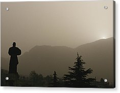 Silhouetted Statue Of Damo Acrylic Print by Justin Guariglia