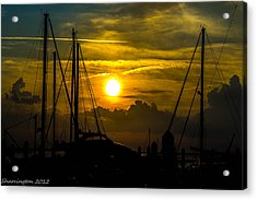 Silhouettes At The Marina Acrylic Print