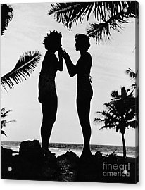 Silhouettes On The Shore Acrylic Print by Padre Art