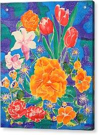 Silk Blooming Flowers Acrylic Print
