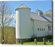 Acrylic Print featuring the photograph Vermont Silo And Barn  by Sherman Perry