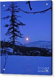 Silver-blue Moon Acrylic Print