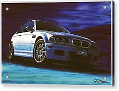 Acrylic Print featuring the painting Silver Bmw M3 by Rod Seel