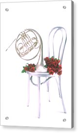 Silver French Horn On Silver Chair Acrylic Print by Garry Gay