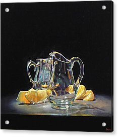 Silver Glass Oranges Acrylic Print by Jeffrey Hayes