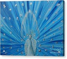 Silver Peacock Acrylic Print by Julie Brugh Riffey