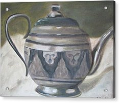 Silver Tea Kettle Acrylic Print by Iris Nazario Dziadul