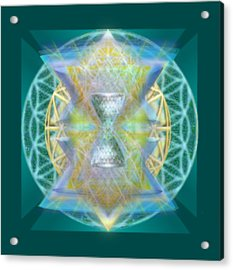 Silver Torquoise Chalice Matrix Subtly Lavender Lit On Gold N Blue N Green With Teal Acrylic Print