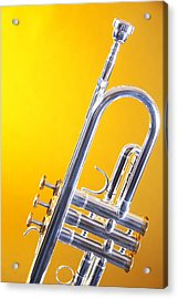 Silver Trumpet Isolated On Yellow Acrylic Print
