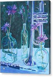 Silvery Night Music Acrylic Print by Jenny Armitage