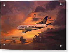 Singapore Airlines A380 Acrylic Print by Nop Briex