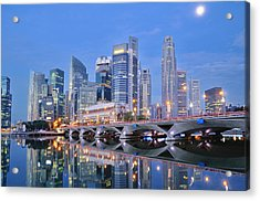 Singapore Central Business District Skyline Acrylic Print by Photo by Salvador Manaois III