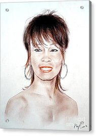 Acrylic Print featuring the drawing Singing Beauty Whitney Houston by Jim Fitzpatrick
