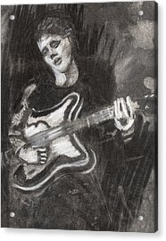 Acrylic Print featuring the drawing Singing Sad Songs by Denny Morreale