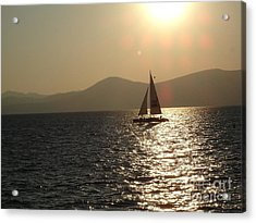 Single Sailboat Acrylic Print by Silvie Kendall