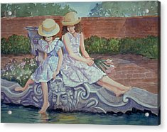 Sisters At The Fountain Acrylic Print