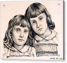Sisters Acrylic Print by Carmen Del Valle